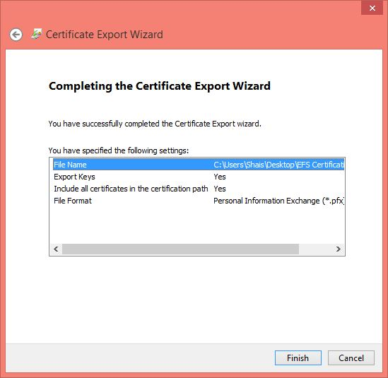 Completing the Certification Export Wizard of Data Backup