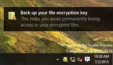 Data Backup for Encryption Key