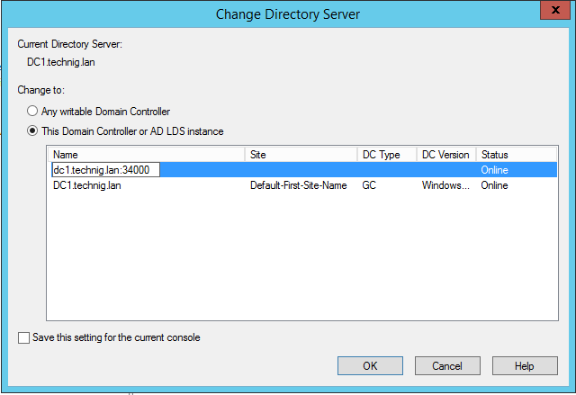 This Domain Controller or AD LDS Instance