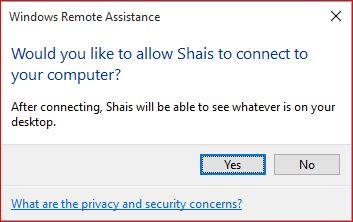 Remote Assistance Message