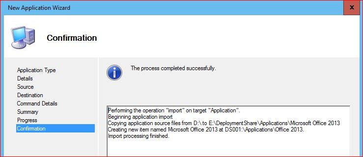 Application Confirmation