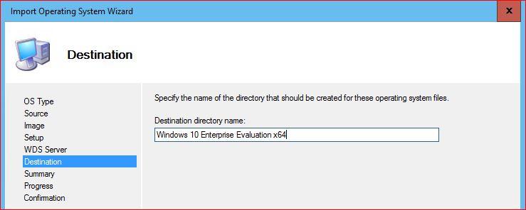 Destination Directory of Windows 10