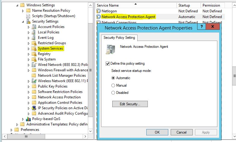 Enable Network Access Protection Agent Service