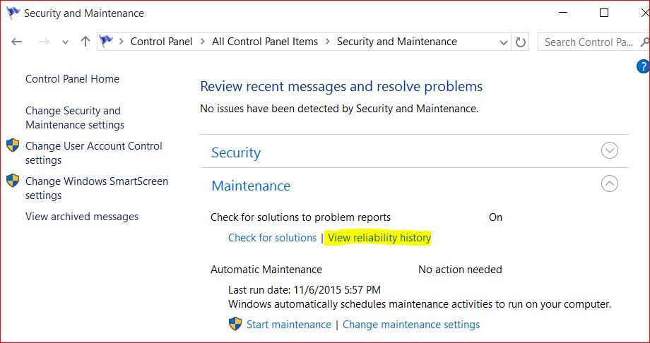 Monitore Windows Reliability