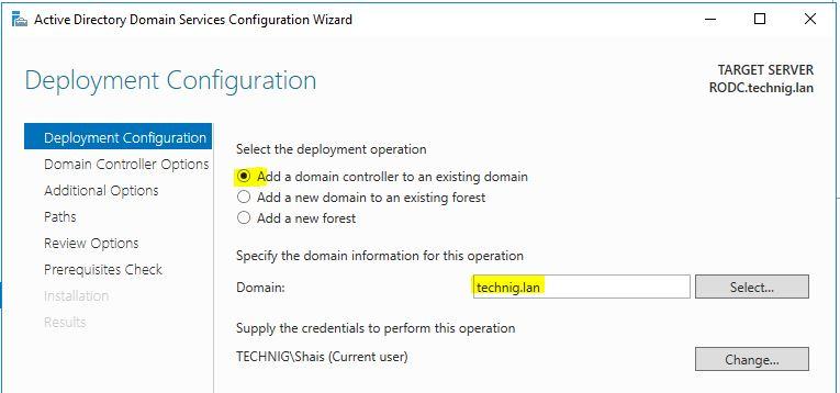 RODC Deployment Configuration