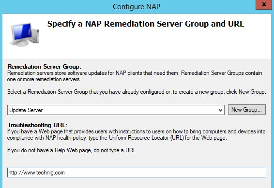 Specify a NAP Remediation Server Group and URL