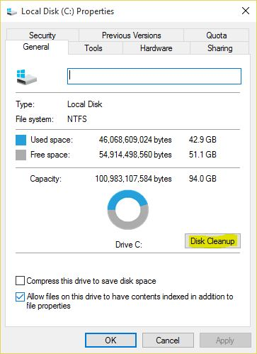 Windows 10 System Drive Properties - Technig