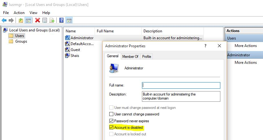 Enable Local Administrator Account in Windows 10