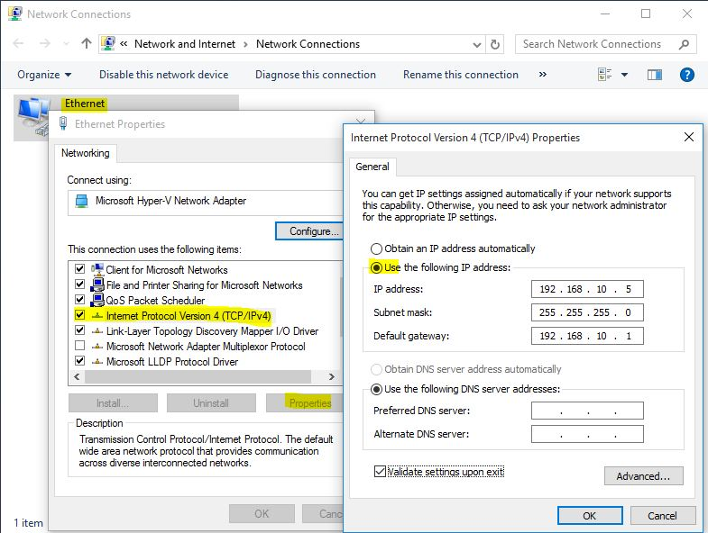 Windows 10 Network Configuration