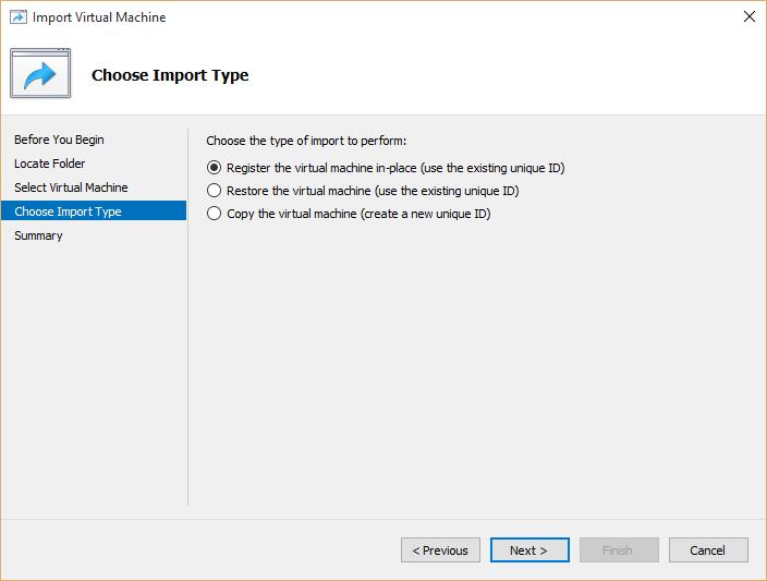 Choose virtual machine import types