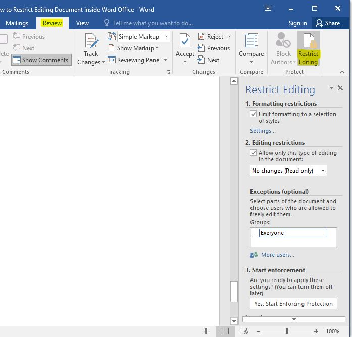 Restrict Editing Document Inside Word