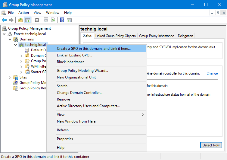 Windows Server 2016 Group Policy Management