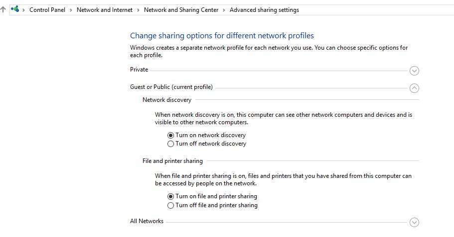 Enable Network Discovery on Windows 10