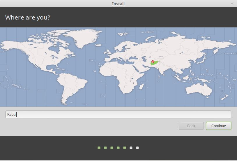Select Your Location for Linux Mint