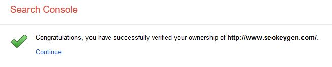Congratulations you have successfully verified ownership your website