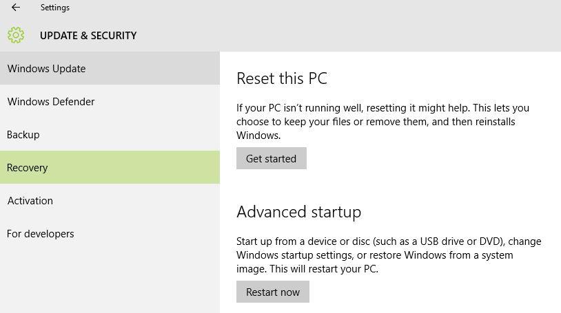 Windows 10 Advanced Boot Options - System BIOS Boot Keys