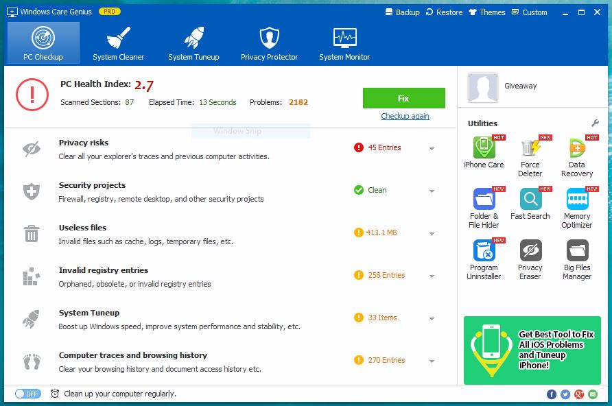 Windows Care Genius - PC Checkup
