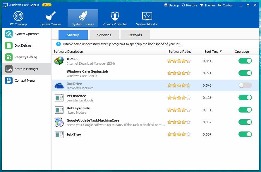 Windows Care Genius Startup Manager