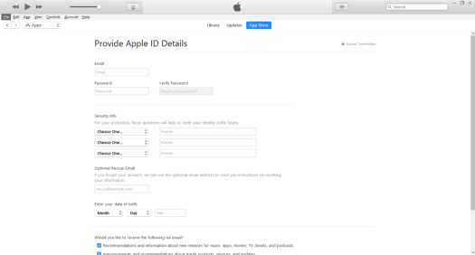 Create Apple ID - Enter your Apple ID Detail