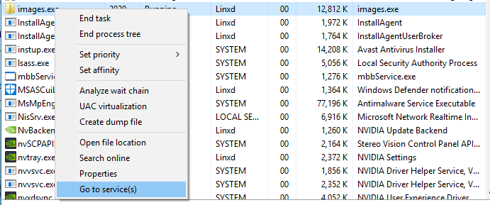 Find Virus Services in Windows Task Manager