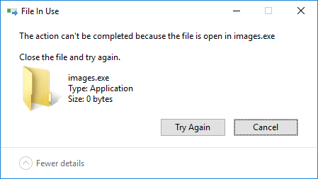 The action can't be completed because the file is open in image exe