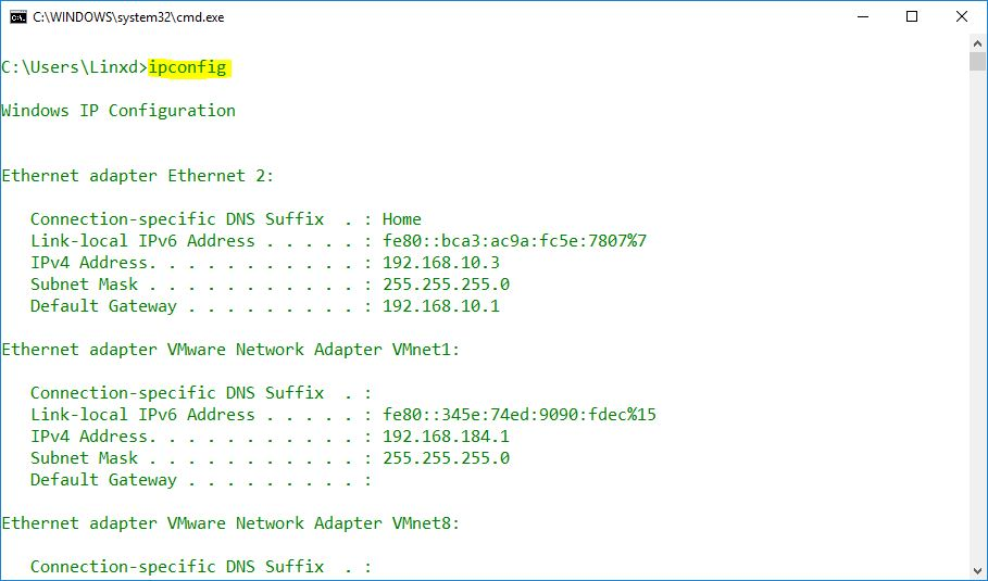 Display Windows Network Configuration Settings with Command Line