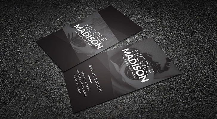Top 20 free business card templates with psd files technig photography business card reheart Images