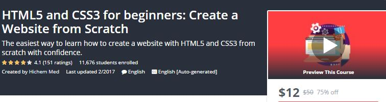 Udemy Best Free Online Classes For Learning HTML5 and CSS3-Technig