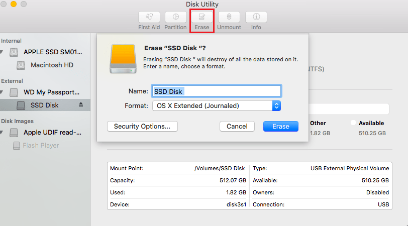 Format hard drive for Mac