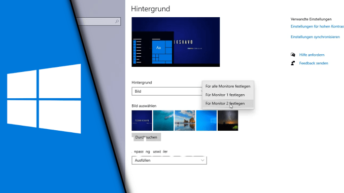 Unterschiedliche Hintergrundbilder mehrere Monitore