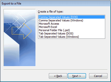 Comma Separated Values DOS option