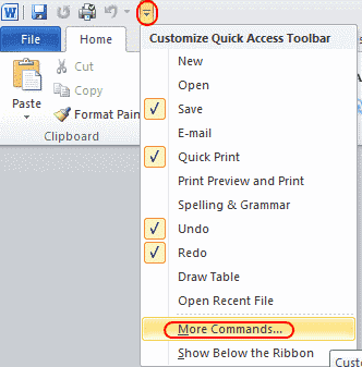 Word more commands option