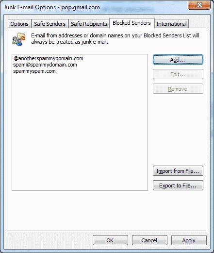 Outlook 2010 blocked senders screen
