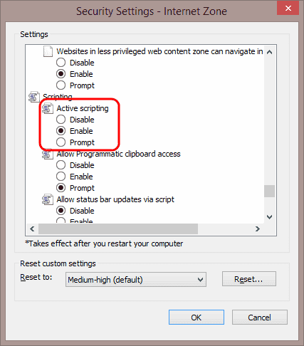 Enable or Disable JavaScript in Internet Explorer 11