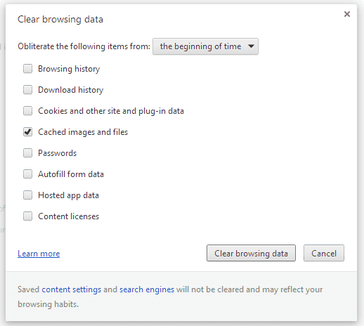 Chrome Clear browsing data screen