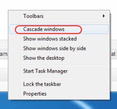 Win7 Cascade windows option