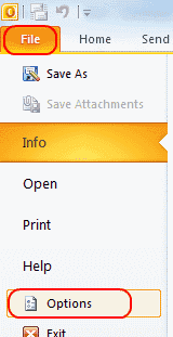 Outlook 2010 Options button