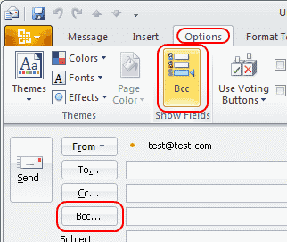 Outlook 2010: BCC field enable setting