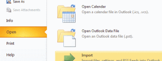 Outlook 2010 Import option