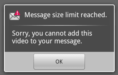 Droid message size warning