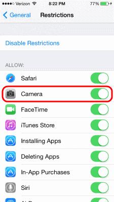 iOS Camera Restriction