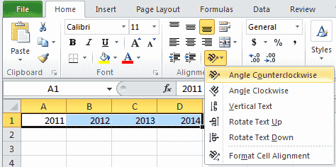 Excel 2010 cell rotation flip