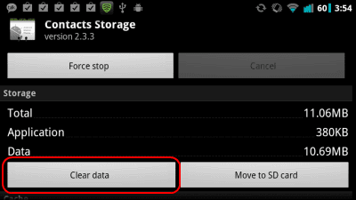 Android clear storage from Contacts Storage