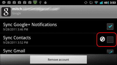 Android uncheck sync contacts