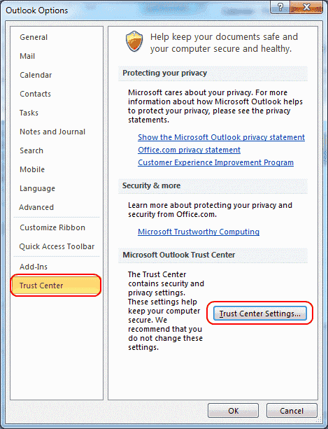 Outlook 2010 Trust Center Settings button