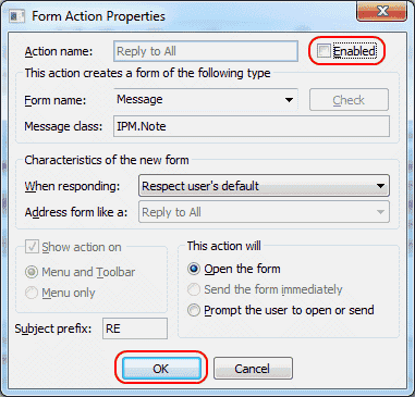 Outlook 2010 reply to all form action properties