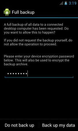Écran de Sauvegarde Android