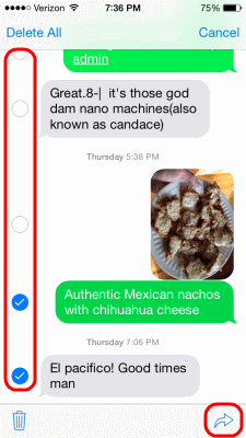 iOS Select Multiple Text Messages