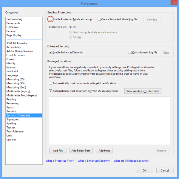 Uncheck box in Adobe Reader