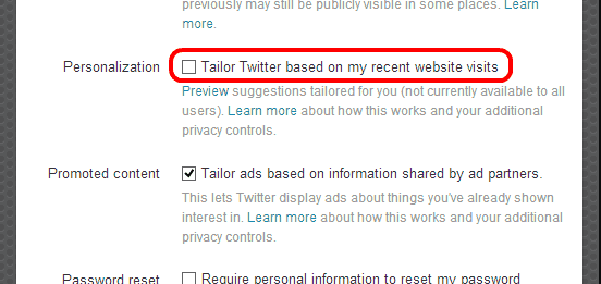 Tailor Tweets setting